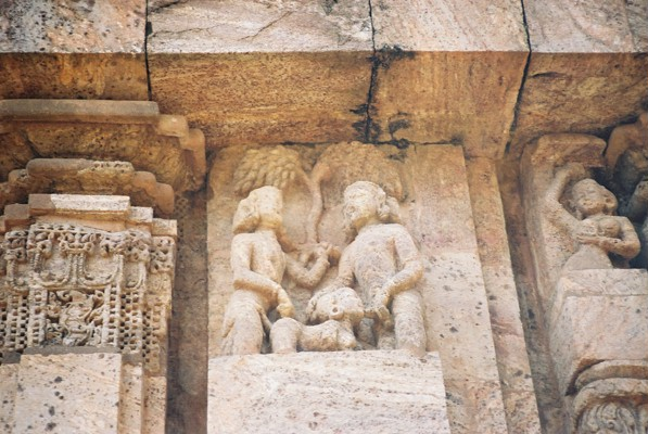 A rude carving on the temple of Konark