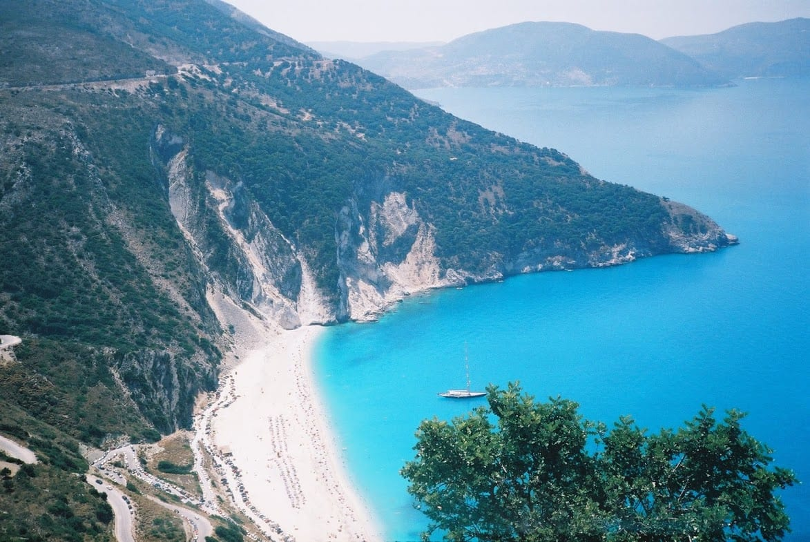A view out over a great beach in Kefalonia