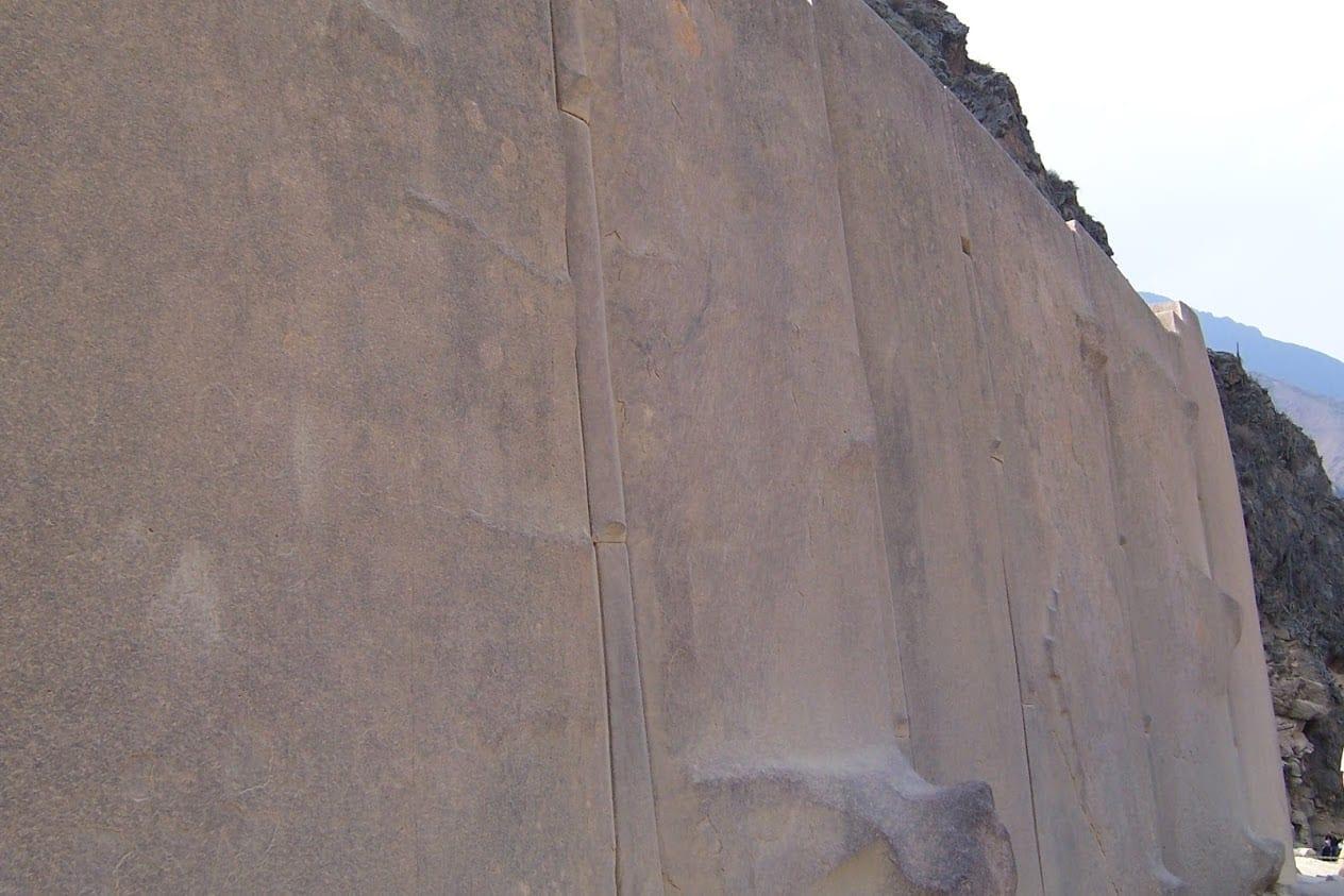 The huge stone slabs at Ollantaytambo in Peru