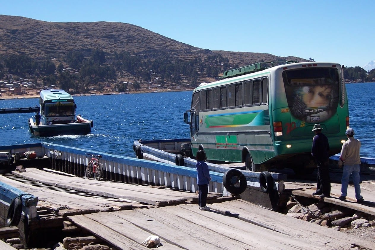 Bus crossing Lake Titicaca in Bolivia