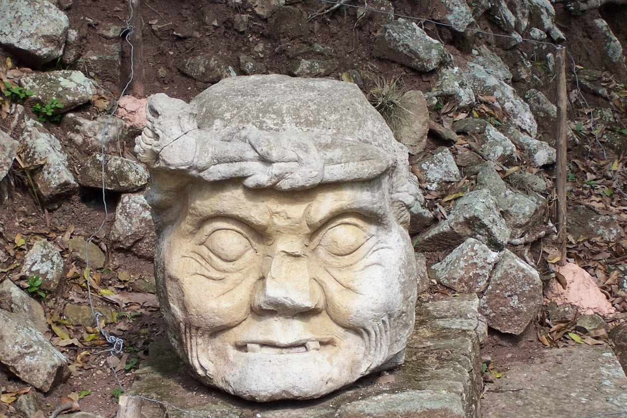 A scary looking statue from Copan Ruinas in Honduras