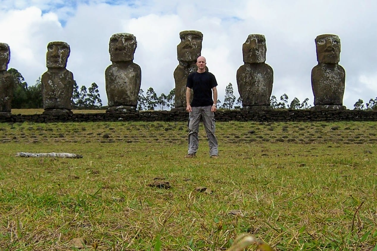 Dave Briggs with easter island statues
