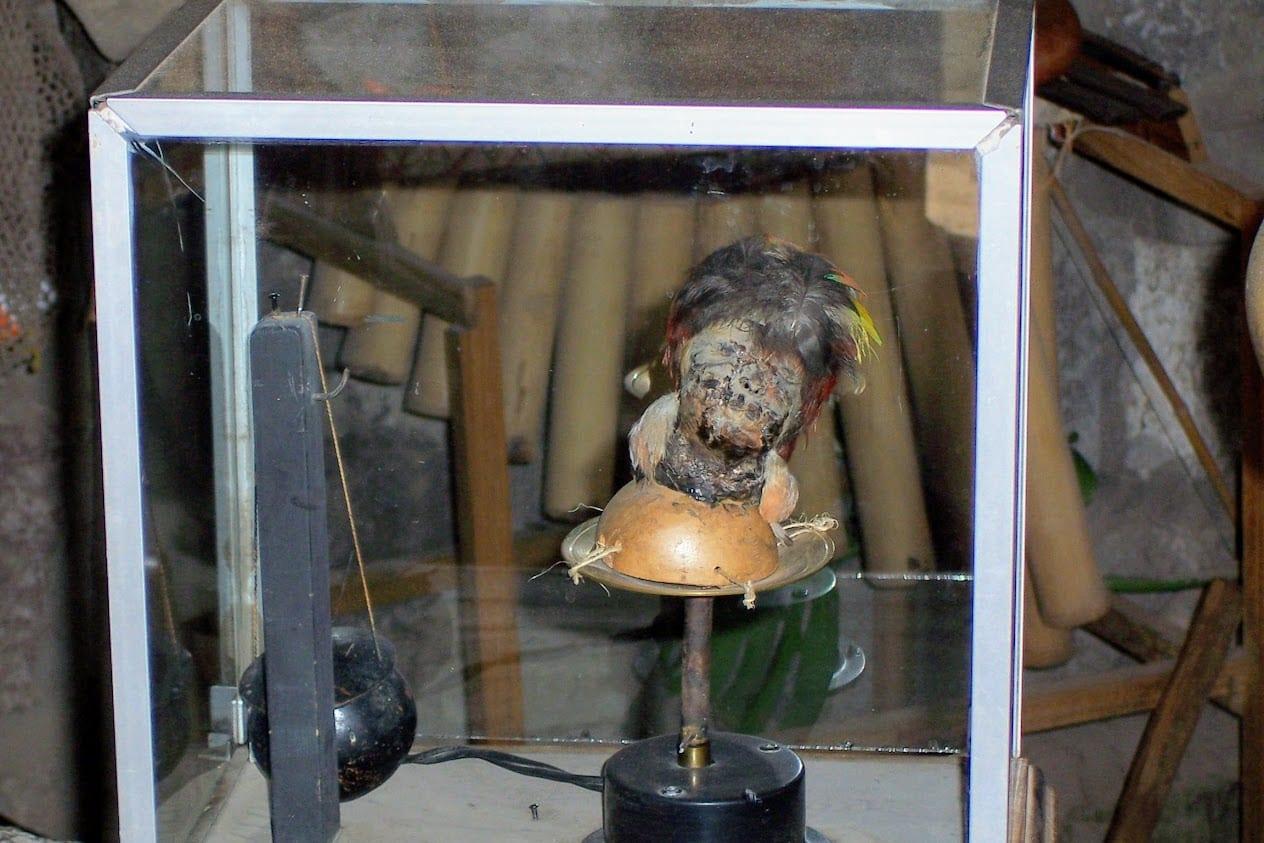 Shrunken head on display at the Equator in Ecuador