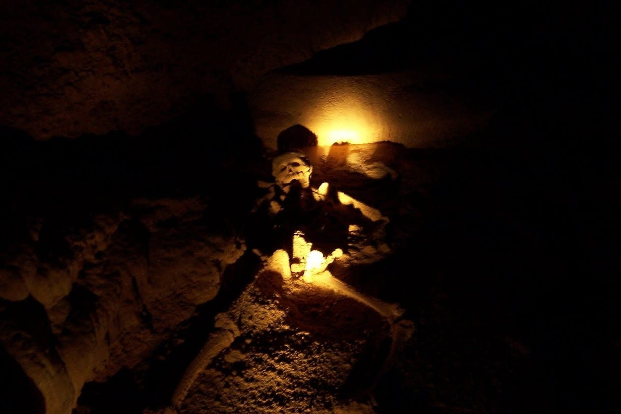 A skeleton inside the ATM cave in Belize