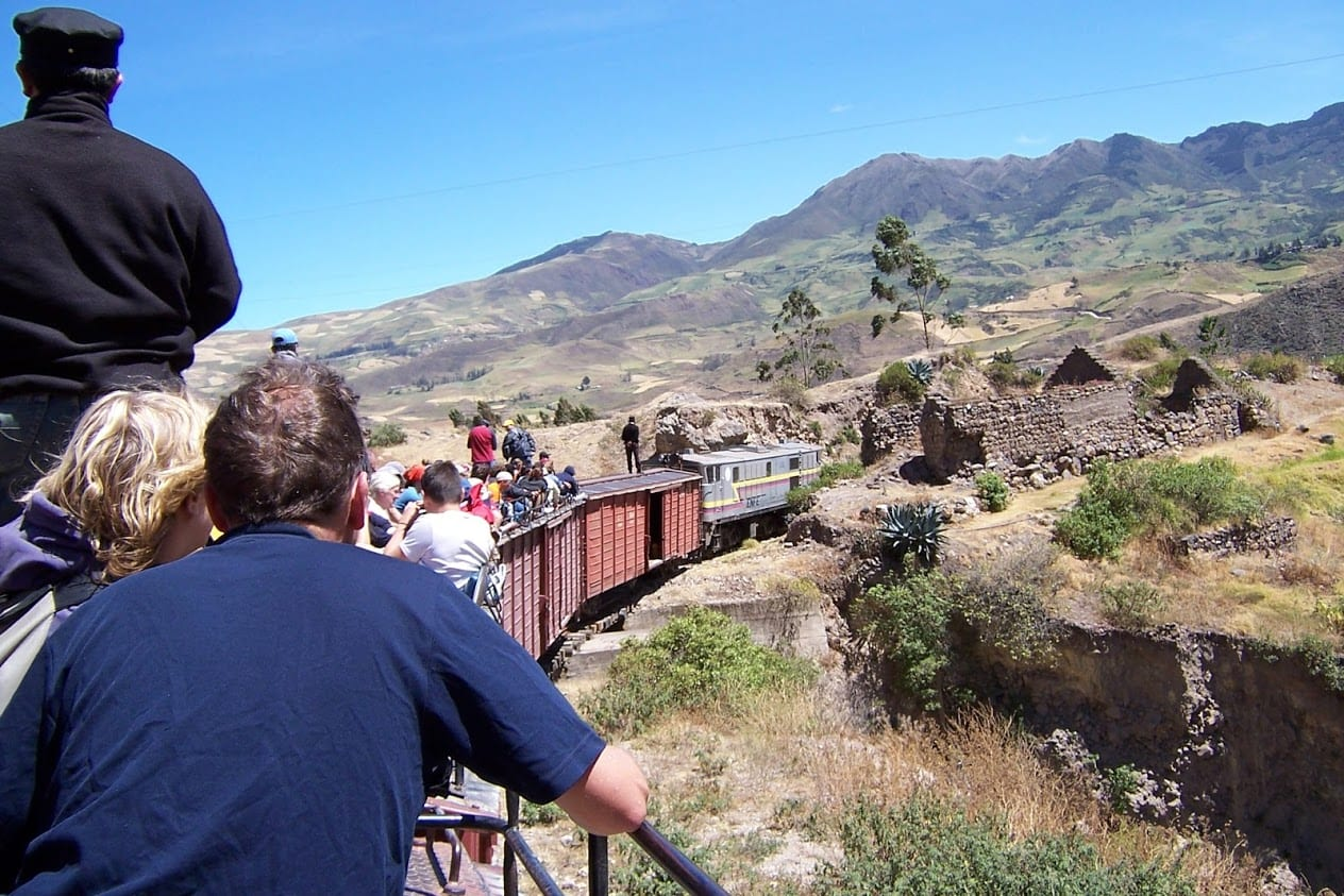 Taking the famous train ride in Ecuador