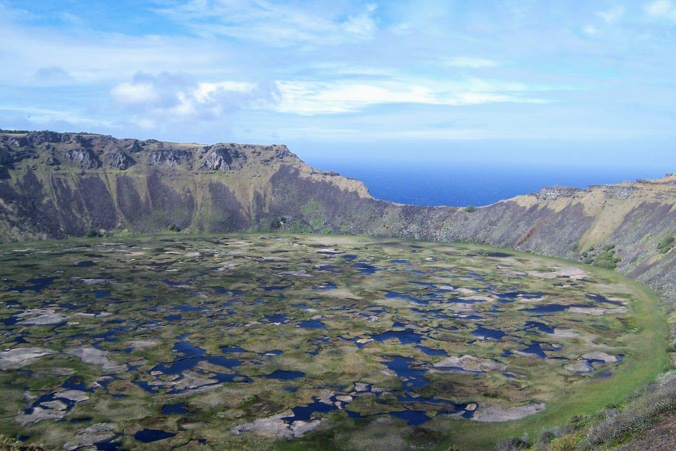 The volcano lake near Oronga in Easter Island