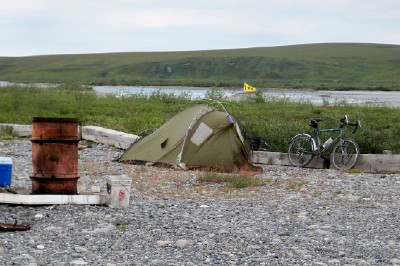 My tent at Happy Valley Alaska. A good place to stop after leaving Deadhorse