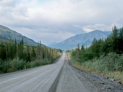 Cycling along the Dalton Highway in Alaska