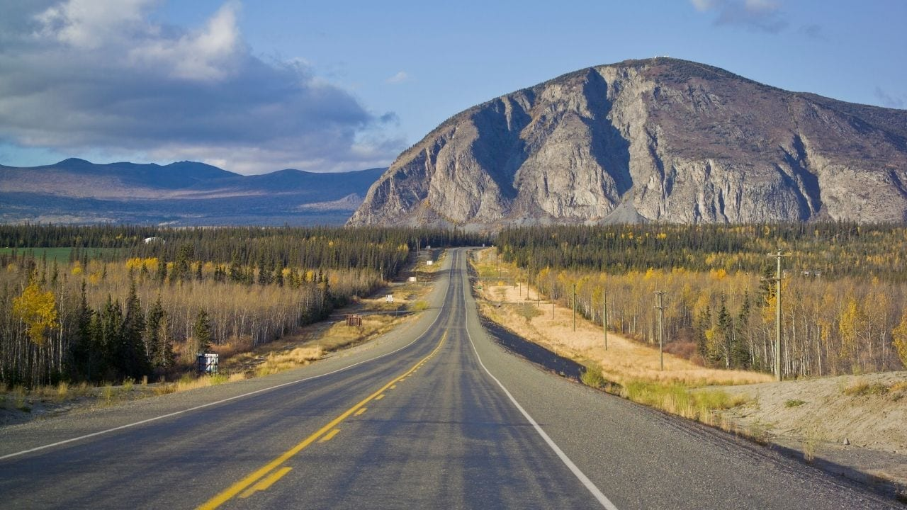 Cycling from Haines Junction to Whitehorse in Canada