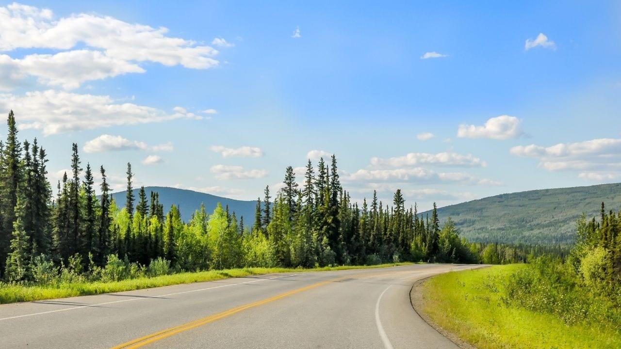 Cycling into Fairbanks Alaska