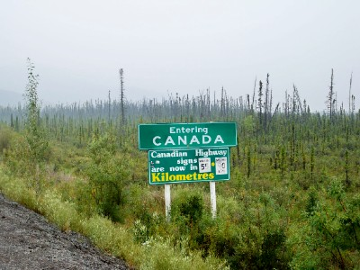 Cycling across the border between Alaska and Canada