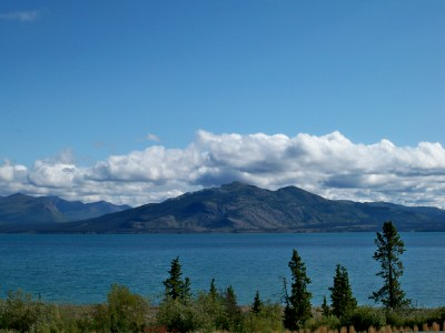 Cycling around Lake Kluane in Canada