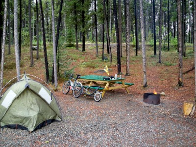 My campsite whilst waiting for the rain to clear when cycling in Canada