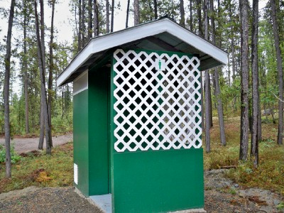 The outhouse at Squanga Lake campground