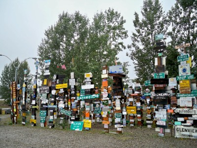 The world famous signpost forest in Watsons Lake in Canada