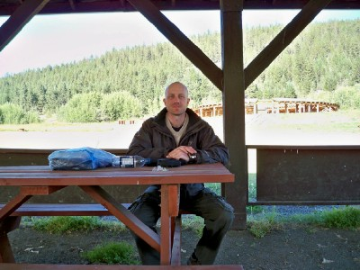 Dave Briggs cycling across Canada at Williams Lake