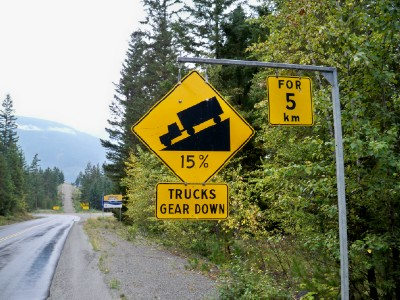 Now that's a steep road! Bike touring in Canada on the road between Cottonwood and Pemberton
