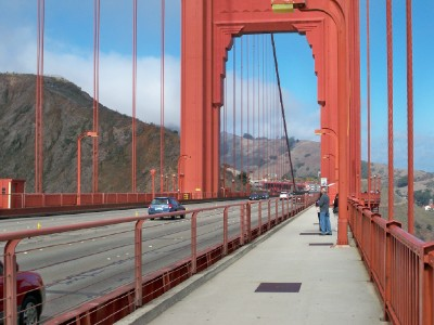 Cycling across the Golden Gate Bridge of San Francisco