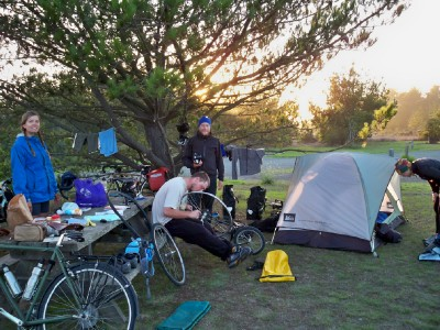 Cyclists sharing a campsite at San Simeon when cycling the Pacific Coast Highway