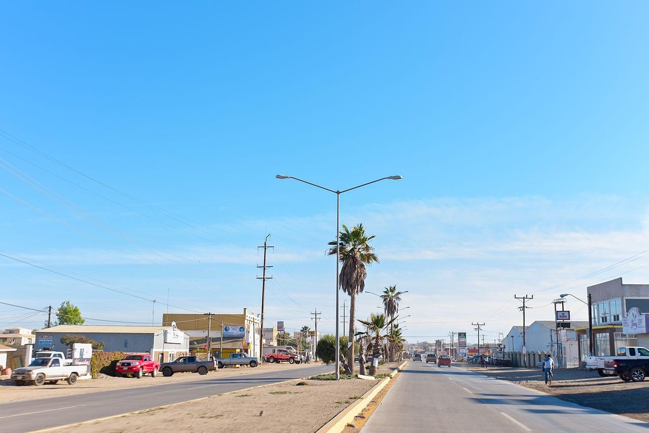Cycling into Vicente Guerrero in Baja