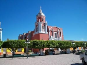 The main square of Acaponeta in Mexico