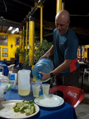 Pouring proper sized Margaritas! Hostels can still sometimes be the best travel accommodation choice in the right circumstances.
