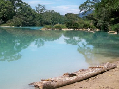 A rather dodgy looking raft at Agua Clara in Chiapas, Mexico