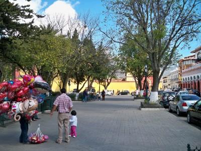 A balloon seller in San Cristobal de las Casas