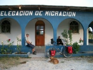 Cycling from Bethel to Flores - the immigration post at Guatemala