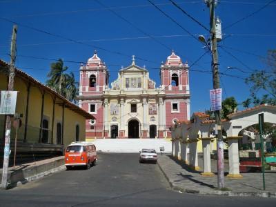 A pink church in Leon, Nicaragua