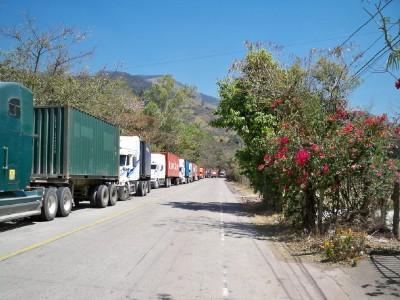 Lorries queuing to go to El Salvador