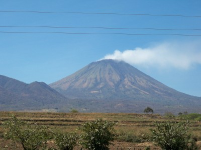 A smoking volcano in Nicaragua