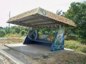 Colourful bus stops in Panama