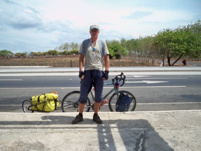 Dave Briggs cycling in Panama and not looking too happy!