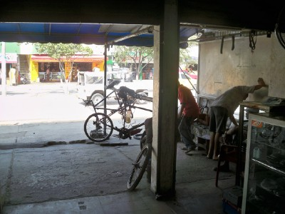 Inside a bike shop in Cartagena in Colombia