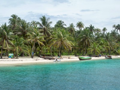 A tropcial paradise in the San Blas islands. I visited here when sailing from Panama to Colombia.