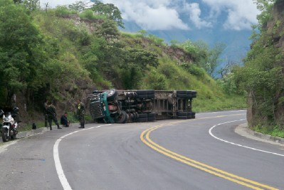 An overturned truck in Colombia