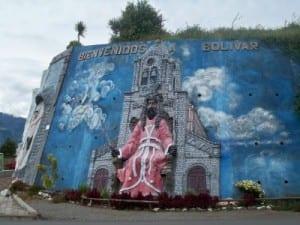 A roadside display as seen when cycling through the town of Bolivar in Ecuador