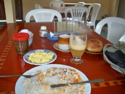 Eating a big breakfast in Ecuador