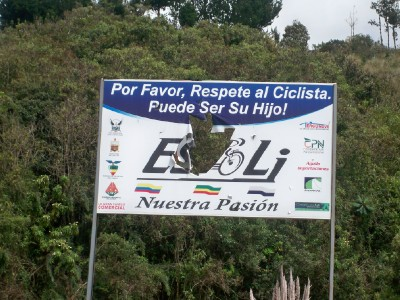 A signpost in Ecuador for cyclists