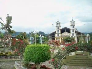 The plaza of El Pangui in Ecuador