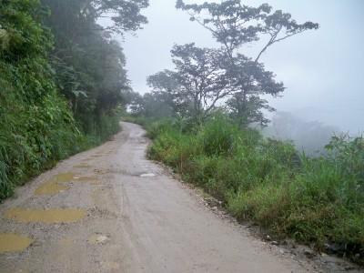Cycling on a dirt road in Ecuador