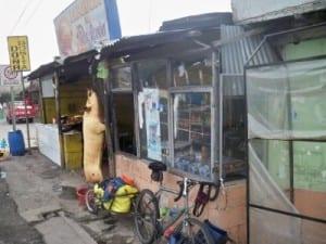 Stopping at a pork restaurant near Salcedo in Ecuador