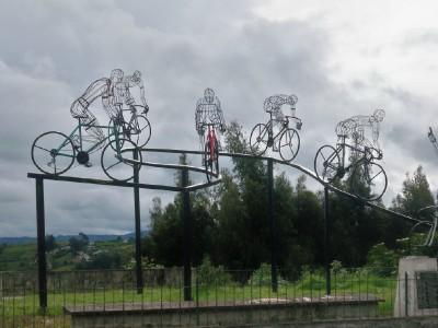A cyclists artwork in San Gabriel, Ecuador
