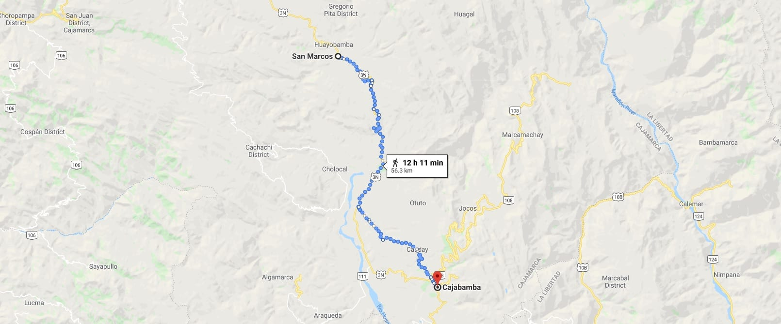 Cycling from San Marcos to Cajabamba in Peru