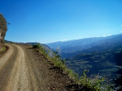 Cycling narrow dirt tracks out of Leymebamba in Peru