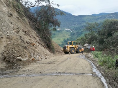 Work vehicles on the road in Ecuador