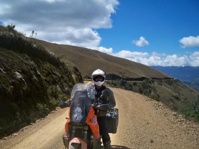 Vince riding a motorbike in Peru