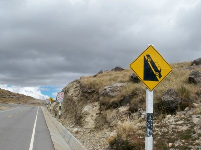 A bad road sign to see in Peru!