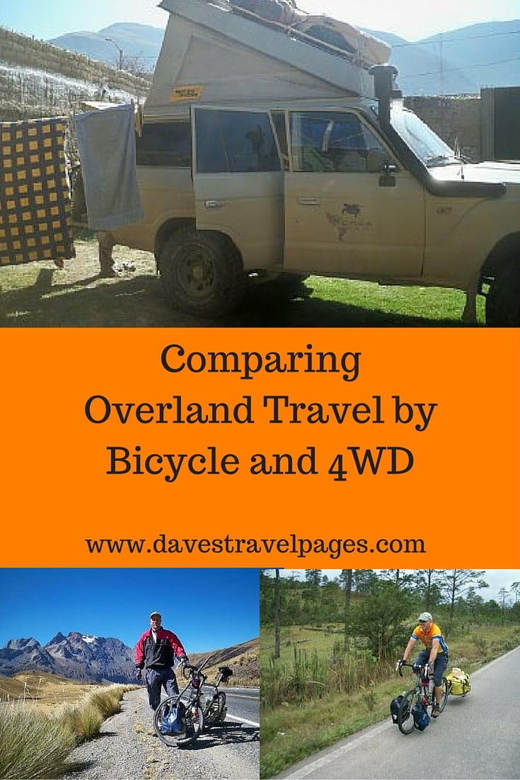 Comparing overland travel by bicycle and 4WD. A look at the costs, problems, and benefits of travelling overland by 4WD and bicycle.